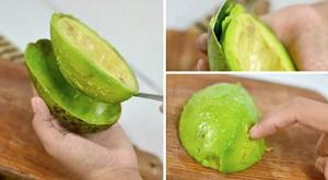 как очистить авокадо ложкой